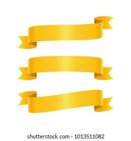 Set of golden ribbon bannes on white background, vector illustration
