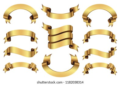 Set of golden ribbons banners isolated on white background. Vector Illustration.