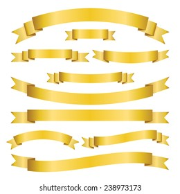 Set of golden ribbons and banners on white background. Collection of blank scrolls for your design. Vector illustration.
