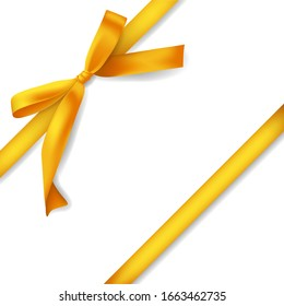 Set of golden ribbons with bows, decoration for gift boxes wrap, design element, isolated on white background, vector illustration