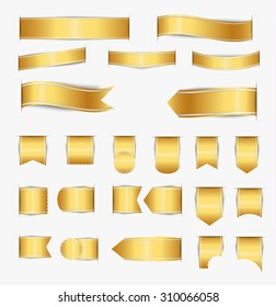Set of golden ribbons of different web forms with shadow. Vector illustration