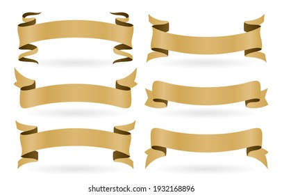 set of golden ribbons with six model isolated white backgrounds. set of golden banners ribbons isolated on white backgrounds applicable for banner, flyer or brochure on advertising in media.