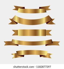 Set of golden ribbons vector.