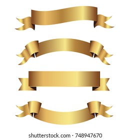 Set of golden ribbons vector.