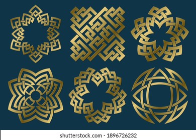 Set of golden sacred symbols. Vector abstract ancient emblems collection. Isolated jewelry logo templates.
