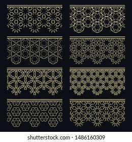 Set of golden seamless borders, line patterns. Tribal ethnic arabic, indian decorative ornaments, fashion gold lace collection. Isolated design elements for headline, banners, wedding invitation cards