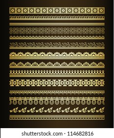 Set  of golden seamless lines and borders
