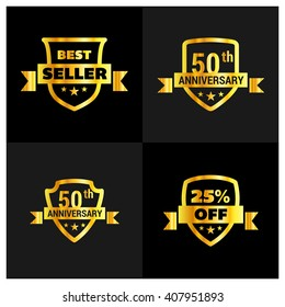 Set of Golden Shield different design. Best Seller, 50th anniversary, 25th Off Shield Set. Vector illustration.