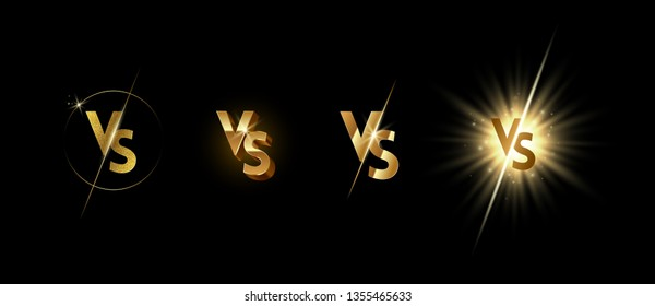 Set of golden shining versus logo on black background. VS logo for games, battle, match, sports or fight competition, Game concept of rivalry. VS. Vector illustration.