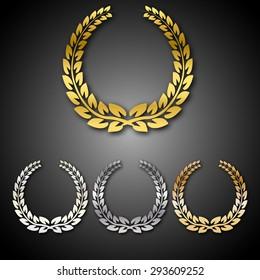 Set of golden, silver, brass and platinum award laurel wreaths, isolated on black background. Vector illustration