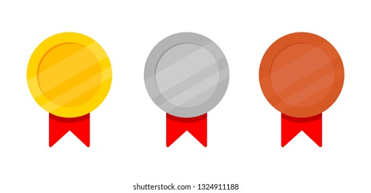 Set of Golden, silver and bronze Award medals with red ribbon. banner for text. Isolated on white background. Vector Illustration.