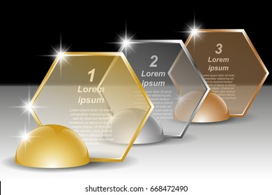 Set of golden, silver and bronze hexagonal transparent banners for text. Vector illustration EPS10 for infographic template, presentations, brochures, flyer, banner, website