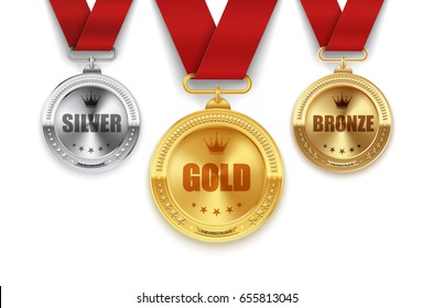 Set of golden, silver and bronze medals with red ribbons. Vector illustration