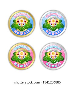 Set of golden and silver Welcome to Hawaii badges in Polynesian style with floral decoration on white background.