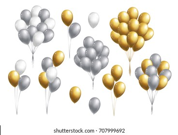 Set of golden, silver and white  balloons bunch on white background. Vector illustration.