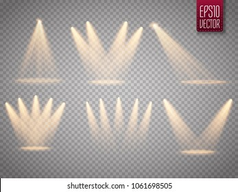 Set of golden spotlight isolated. Yellow warm lights. Vector illustration.