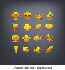 Set of Golden symbols for coins or reward icons for game interface. Cartoon achievements decoration for game. Vector illustration.