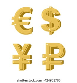 Set of golden symbols money. Russian ruble. Euro European cash. Chinese currency is yen. Symbol of American dollar precious yellow metal