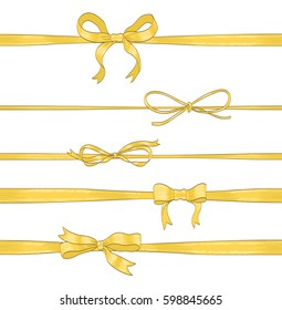set of golden thin bows and horizontal ribbons on white. hand drawn vector illustration. collection of decorative elements for celebration greetings, invitations