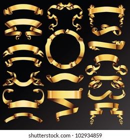 Set of golden vector ribbons or banners for your text.