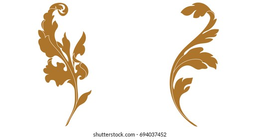 Set of golden vintage baroque ornament, corner. Retro pattern antique style acanthus. Decorative design element filigree calligraphy vector. - stock vector