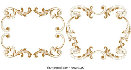 Set of golden vintage border frame engraving with retro ornament pattern in antique baroque style decorative design. Vector