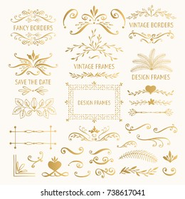 Set of golden vintage frames and borders. Vector. Isolated.