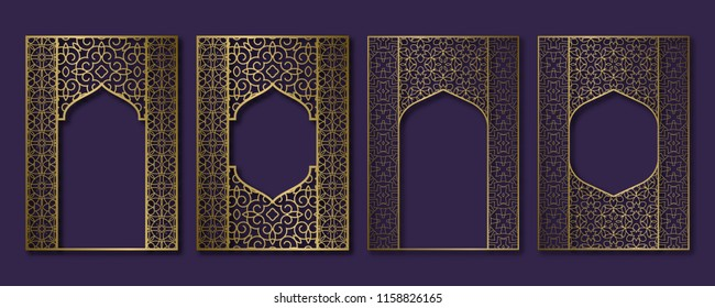 Set of golden vintage frames in form of ornate door and window. Brochure, book or greeting card cover backdrop template.