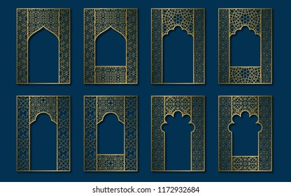 Set of golden vintage frames in form of ornate door and window. Book, booklet, brochure covers, greeting card or leaflet backgrounds templates.