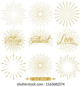 Set Golden Vintage Sunburst Vector Template