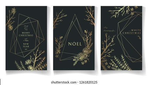 Set of golden winter cards, geometric trendy crystal design. Hand drawn sketchy graphics, branches, pine-tree, citrus, spices. Terrariums. Vector illustration