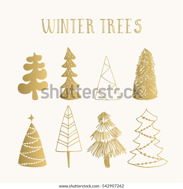 Set of golden winter trees. Vector. Isolated