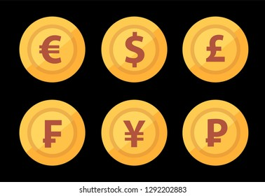 Set of golden world Great currency symbols isolated on dark black color. Flat vector illustration for design of Exchange get-up.