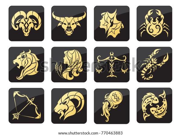 Set Golden Zodiac Signs On Dark Stock Vector (Royalty Free) 770463883