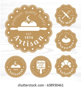 Set of Golds  logo bakery label vector, badges with bread and design elements.