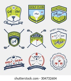 Set of golf club, golf championship, golf gear and equipment badge logo | Vector illustration