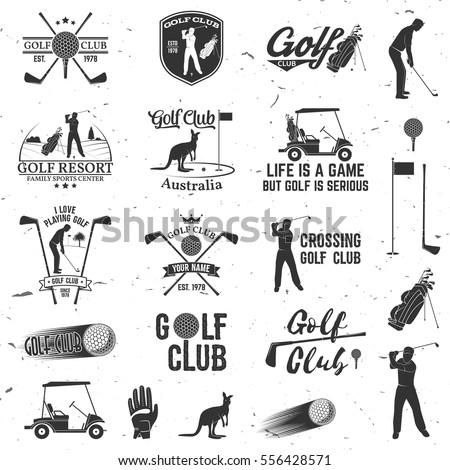Set Golf Club Concept Golfer Silhouette Stock Vektorgrafik