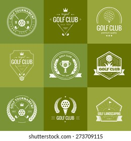Set of golf club logo templates. Hipster sport labels with sample text. Elegant vintage icons for golf tournaments, organizations and golf clubs. Vector logotype design.