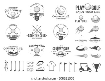 Set of golf country club logo and icons