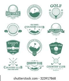 Set of golf country club logo