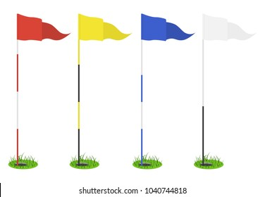 Set of golf flags - red, yellow, blue, white. Triangular flag in the hole with grass. Golf equipment or accessory. Template design for sport competition. Vector illustration