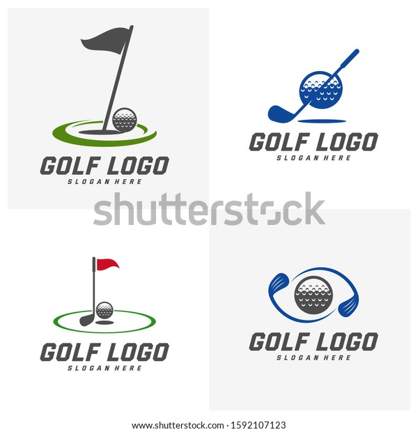 Set Golf Logo Design Vector Template Stock Vector Royalty Free 1592107123
