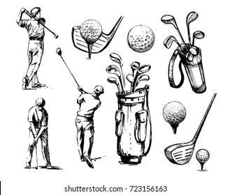 Set of golf objects: players, ball, golf clubs. Hand drawn sketch illustration converted to vector.