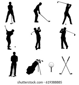 Set of Golf Players Silhouette. Vector Image