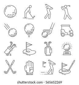 Set of golf Related Vector Line Icons. Includes such Icons as a Golf ball, hole, Golf car, field games, stick, sports uniforms, gloves, backpack