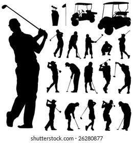 set of golf vector