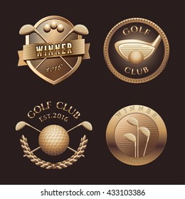 Set of golf vector logo, emblem, icon, symbol. Design of golden trophy, prize, award for golf tournament, championship, competition