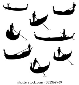 Set of Gondolier Silhouettes. Vector Image