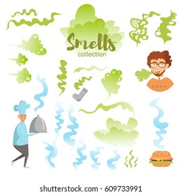 Set with good and bad smells. Isolated art on white background. Vector. Flat. Sock