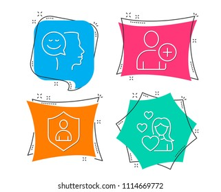Set of Good mood, Add user and Security icons. Love sign. Positive thinking, Profile settings, Private protection. Woman in love.  Flat geometric colored tags. Vivid banners. Trendy graphic design